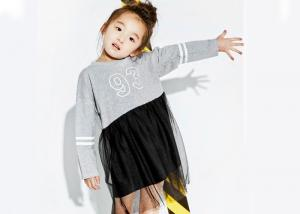 China Latest Kids Girls Clothes Number Printing Mesh Stitching Girls Winter Dresses on sale