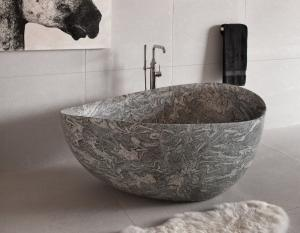 China Granite Juparana Grey Natural Stone Bathtub Standard Size 160 X 90 Cm For Bathroom on sale