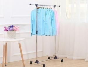 China Adjustable Stainless Steel or Composite Strong Single Pole Clothes Drying Rack with Wheels on sale