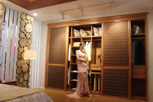 Wooden Melamine Wardrobe Closet Sliding Doors Modern Leather For