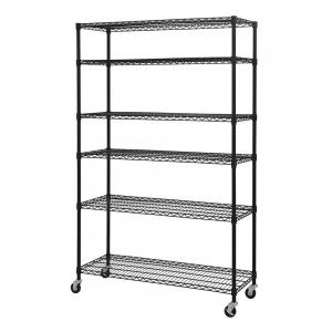 China 6 - Tier Adjustable Metal Black Wire Shelving Units For Convenience Stores on sale