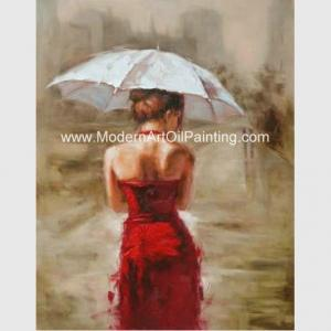 China Acrylic Modern Art Oil Painting Decorative Wall Art Girl with Red Dress  on Canvas on sale