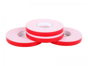 China Solvent Glue PE Foam Double Sided Self Adhesive Tape Red Silicon Paper No Printing on sale