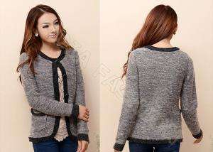 China Fashion Womens Cardigan Sweaters With Buttons And Pockets Crew Neck Long Sleeve on sale