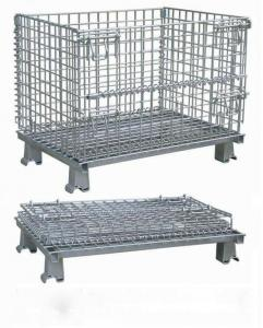 China Workshop Metal Wire Mesh Cages , Galvanized Wire Folding Wire Container on sale