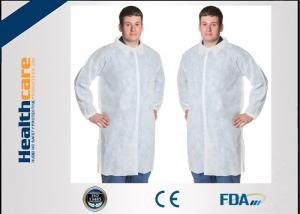 China Polypropylene Disposable Lab Coat With Knitted Cuff And Button Blue Or White Color on sale