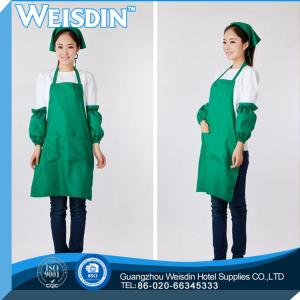 China OEM service women's/man's cotton kitchen cooking apron with green ruffle on sale