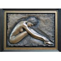 Professional Metal Relief Sculpture , Nude Woman Wall Relief Sculpture
