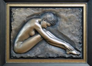 Quality Professional Metal Relief Sculpture , Nude Woman Wall Relief Sculpture for sale