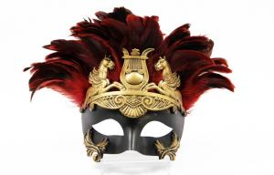 """China Colombina Plastic mask with feather     8""""3049F on sale"""