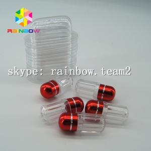 China Clear capsule plastic medicine bottle , sex pill container with aluminum foil gold cap on sale