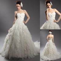China A Line Teried Ruffles Sweetheart Wedding Gowns , Sleeveless Lace Ball Gowns on sale