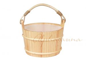 China Smooth Surface White Pine Wooden Turkish Sauna Bucket And Ladle With Plastic Liner on sale