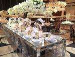 Aisles Wedding Silver Mirrored Dining Table Rectangle Type Strong Struture