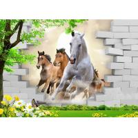 Fashionable And Noble 3D Bamboo Wall Panels Galloping Horse For TV Or Sofa Wall