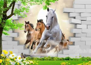 China Fashionable And Noble 3D Bamboo Wall Panels Galloping Horse For TV Or Sofa Wall on sale