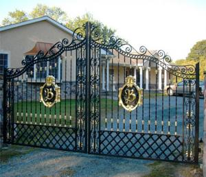 China Black Mat Ornamental Fences And Gates / Decorative Metal Garden Gates on sale
