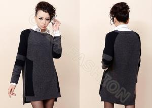 China Black Elegant Crew Neck Womens Wool Sweaters , Autumn Long Dress Sweaters on sale