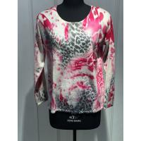 Ladies Long Sleeve Cashmere Crew Neck Sweaters With Flower Screen Printing 12gg Knitted