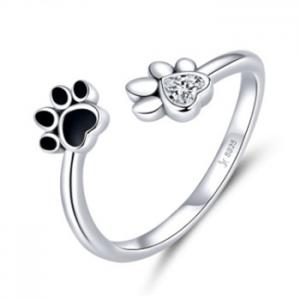 China Sterling Silver 925 Adjustable Crystal Rings With Black Enamel Dog Paw Open on sale