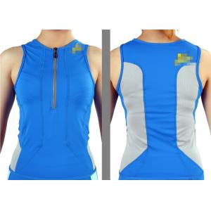 China Blue XS Slim Fit Womens Bike Jersey / Cycling Jersey no sleeve for promotional on sale