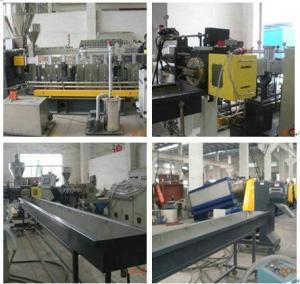 China Extrusor de tornillo plástico reciclado del gemelo de la nodulizadora, escamas de la botella del ANIMAL DOMÉSTICO que granulan la máquina on sale