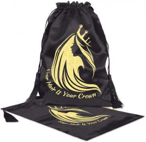 China Luxury black satin wig bag with tassel and customized logo for hair extension packing wholesale