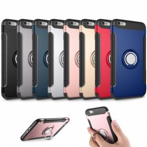 China Armor Series Phone Case Holder with Finger Ring TPU + PC Cover for Apple iPhone X /8 /7 /6 /5 - DSDIA on sale