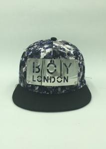 China Black Floral Snapback Baseball Caps / Snapback Vintage Hats With Iron Logo on sale