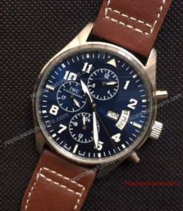 China Low Price IWC Big Pilot Day Date Watch SS Blue Automatic 43mm on sale