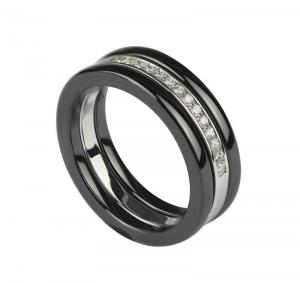 China Ceramic Silver Ring For Ladies , 925 Silver Rings Size # 56 CSR0040 on sale