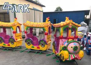 China Funny Kiddie Ride Amusement Game Machines Fiberglass 14 Seats Electrical Track Train on sale