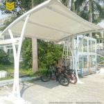 Single Slope Steel Fabric Carport with Arched Roof/fabric parking shade structure/membrane carport/Tensile Parking Shade