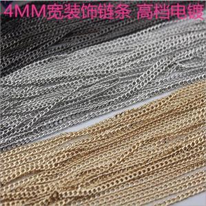 China DIY fashion shiny gold / nickel / gunmetal color 4 mm width iron metal luxury chain bag on sale