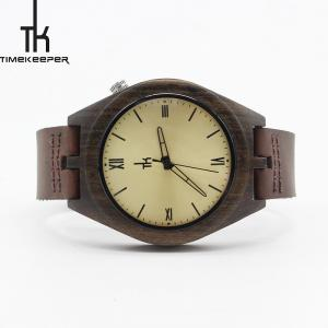 China Sandalwood Wooden Mens Brown Leather Watch Japan Quartz Movement on sale