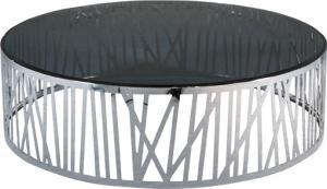 Quality Shinny la table basse d'acier inoxydable, Tableau d'extrémité verre-métal rond, fumant la table en verre for sale
