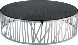 Quality Shinny Stainless Steel Coffee Table , Round Glass Metal End Table, smoking glass for sale