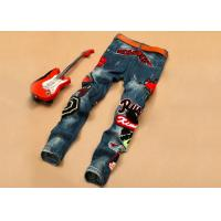 China Trendy Mens Stretch Skinny Jeans Hip Hop , Casual Printed Denim Jeans Blue on sale