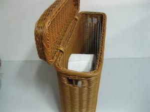 Hotel Poly Rattan Storage Toilet Paper Basket With Lid Large Sized