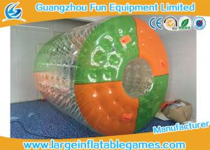 China Custom Color Dots Inflatable Water Roller Rolling Down Hill With CE Blower / Pump on sale