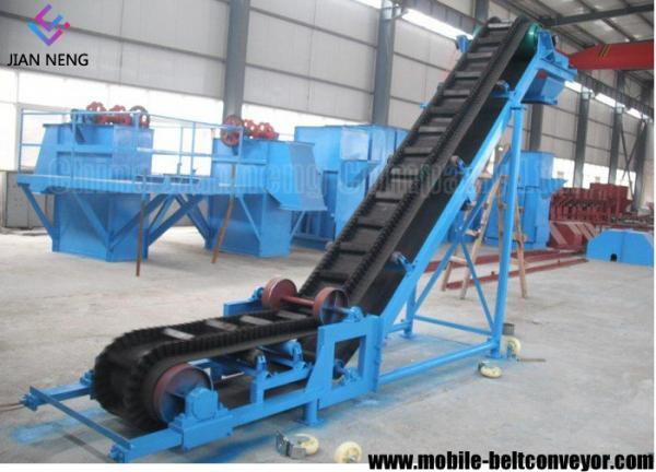 Flat Inclined Rubber Mobile Conveyor Belt System With Grain Coal
