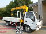 Isuzu 600p truck with crane xcmg 3.2T lorry with crane low noise engiane robust  XCMG crane