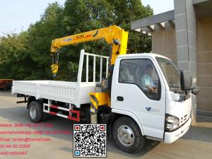 China Isuzu 600p truck with crane xcmg 3.2T lorry with crane low noise engiane robust  XCMG crane on sale