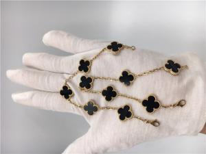 China Women'S Vintage Alhambra 18K Gold Jewelry Handmade With Onyx No Diamond on sale
