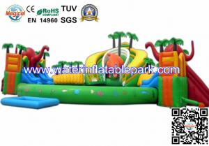 China Outdoor Inflatable Water Park For Kids , Large Inflatable Water Slides With Pool on sale