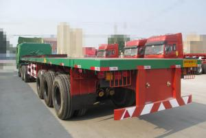 China 28T Jost Landing Gear Flatbed Semi Trailer with three FUWA Brand Axles on sale
