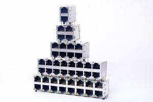 China 2 X 4 Port HUB Stacked RJ45 Ethernet USB With EMI Finger 0811-2X6T-28 on sale