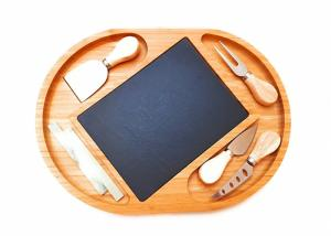 China Bamboo Cheese Board with Cutlery Knives Set and Slate Cheese Board on sale