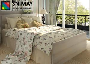 China Simple Rustic Contemporary Wooden Beds / White Wood Double Beds with Beside Cabinet on sale