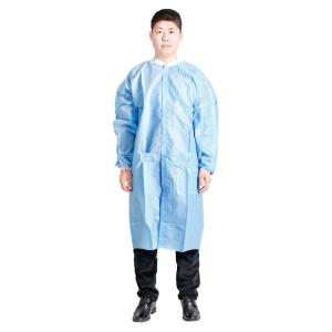 China Nonwoven Disposable Surgical Medical Gown Lab Coat Clothing for Doctors Nurse with Pocket Label / Logo Acceptable on sale